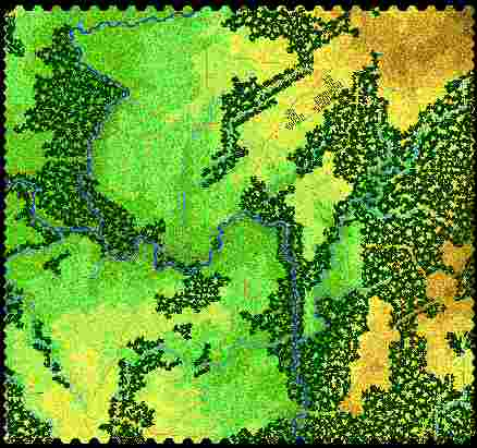 large coloured terrain map