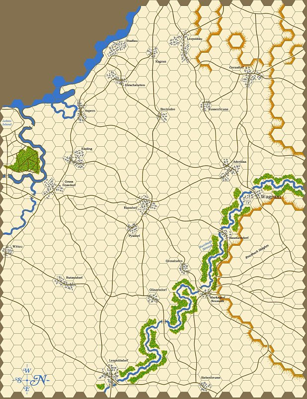 kriegsspiel map of the Danube valley